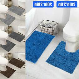 2PCS Non-Slip Bath Rug Set Bathroom Soft Washable Contour Ma