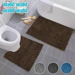 2PCS Non-Slip Bath Rug Set Washable Contour Mat Toilet Lid C