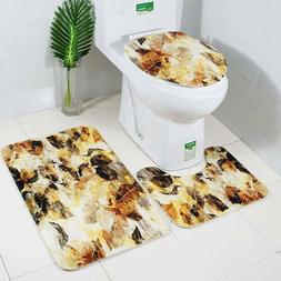 3 Piece Tree Leaves Bathroom Contour Rug And Toilet Cover Ma