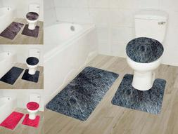 3PC #9 SOFT BATHROOM SET BATH MAT CONTOUR RUG TOILET LID COV