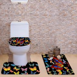 3pcs Fashion Butterfly Toilet Seat Cover Home Bathroom Pedes