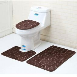 3Pcs/set Anti-Slip Bathroom Rug Mat Set Stone Pattern Soft M