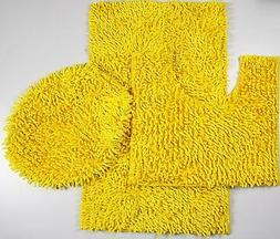 3Piece Mixed Shiny Chenille Bath Mats Set Made with super so