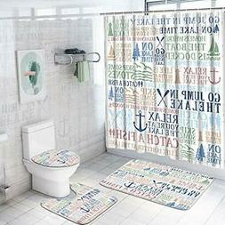 4 Pcs Lake Words Shower Curtain Sets with Non-Slip Rugs Toil