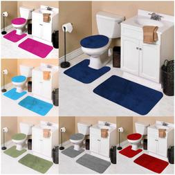 #6 SOLID 3PC BATHROOM SET SOFT COMFORT MEMORY FOAM BATH RUGS