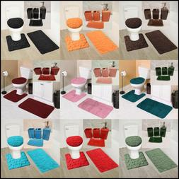 7PC SOFT BATHROOM SET BATH MAT CONTOUR RUG TOILET LID COVER