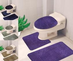 BANDED BATHROOM BATH MAT SET ABSORBENT NON-SLIP RUBBER BACKI