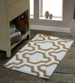 Bath Rug Cotton, 50x30, Anti-Skid, White/Beige, Geometric, W