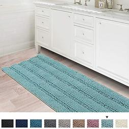 Bath Rugs Ultra Thick and Soft Texture Chenille Plush Stripe
