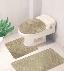 BATHROOM SET EMBOSSED BATH MAT COUNTOUR RUG TOILET LID COVER