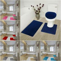 BATHROOM SET RUG CONTOUR MAT TOILET LID COVER SOLID EMBROIDE