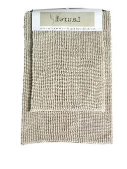 Laurel Collection Beige Chenille Plush Bathroom Rugs-Set of