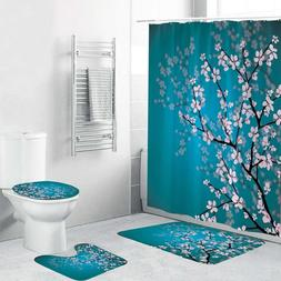 Blue Plum Flower Pattern Shower Curtain Bath Curtains Rugs T