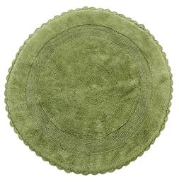 Bath Rug Cotton 36 Inch Round, Reversible, Sage Green, Croch