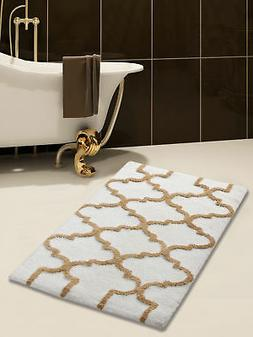 Bath Rug Cotton, 50x30 In, Anti-Skid, White/Beige, Geometric