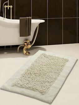 Bath Rug, Cotton and Chenille, 50x30 In, Anti-Skid, Ivory, L