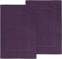 Utopia Towels Cotton Banded Bath Mats, Plum, , 21 x Plum