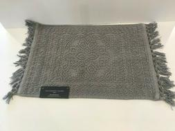French Connection Cotton Bath Rug 17x24in Medium Gray 100% C