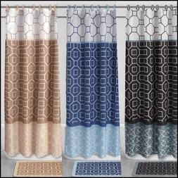 DIAMOND PATCHWORK 4PC SET BATHROOM BATH MAT RUG SHOWER CURTA
