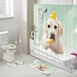 Dog and Little Yellow Duck Shower Curtain Toilet Cover Rug B