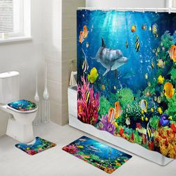 Dolphin and Coral Fish Shower Curtain Toilet Cover Rug Bath