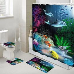 Dolphin and Coral Reef Shower Curtain Toilet Cover Rug Bath