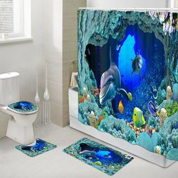 Dolphins and Coral Fish Shower Curtain Toilet Cover Rug Bath