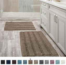 Extra Thick Chenille Striped Pattern Bath Rugs for Bathroom