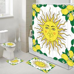 Golden Sun And Yellow Lemon Shower Curtain Toilet Cover Rug