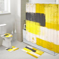 Grey and Yellow Camouflage Shower Curtain Toilet Cover Rug B