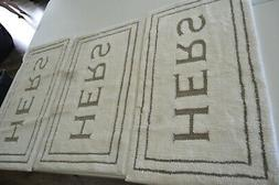 Mohawk  Home HERS Bath Rug 20 x 34 White, Brown Accents