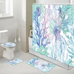 Jellyfish and Colored Coral Shower Curtain Toilet Cover Rug