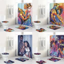 King Queen Couple African Shower Curtain Fabric Lovers Home