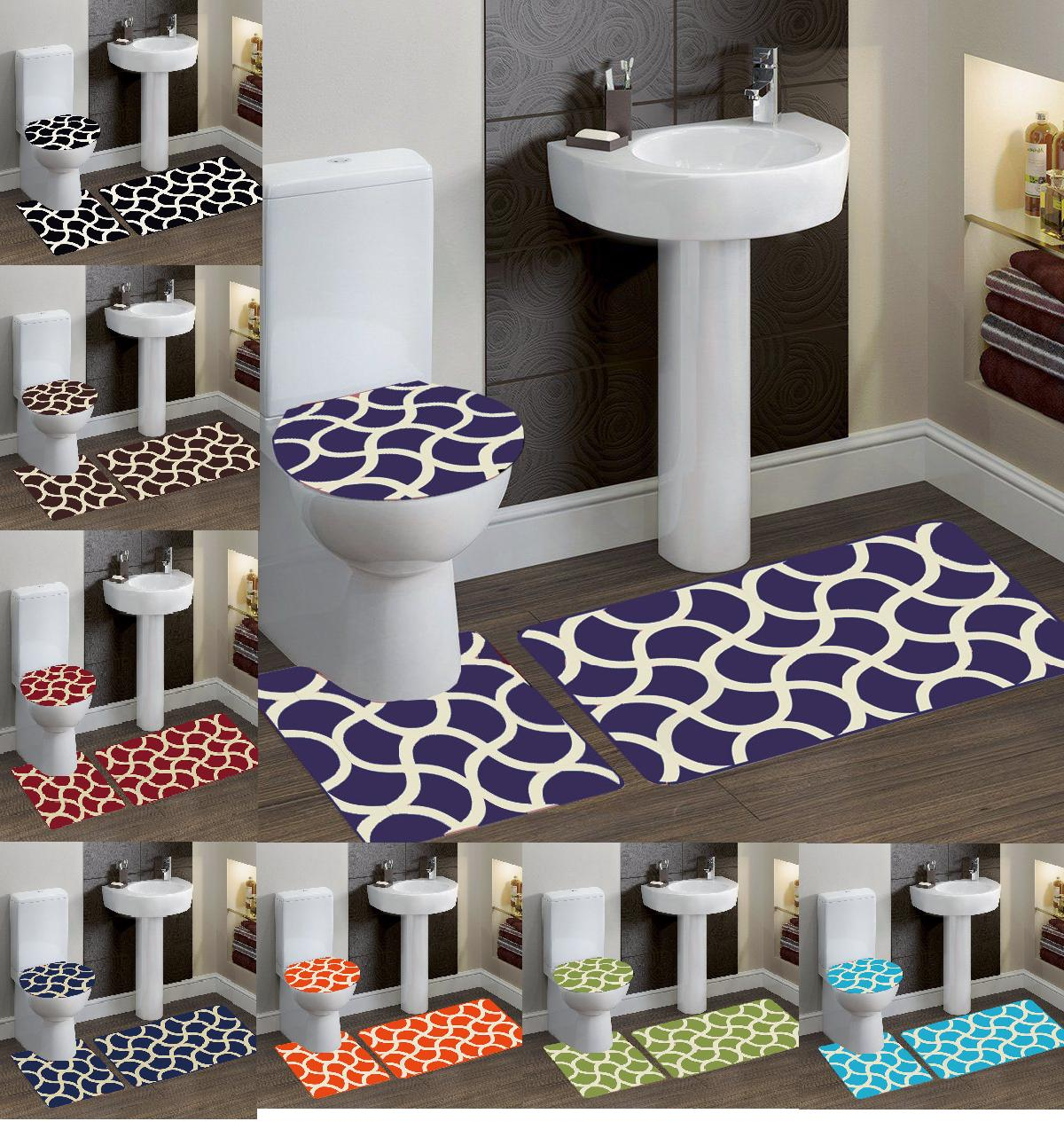 3 piece bathroom bath mat contour rug