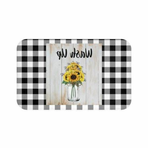 Bath Mat, Wash Up Sunflower Bath Room Accessories, Rugs and