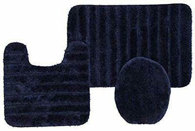 3 Piece Bath Rug Set, Navy
