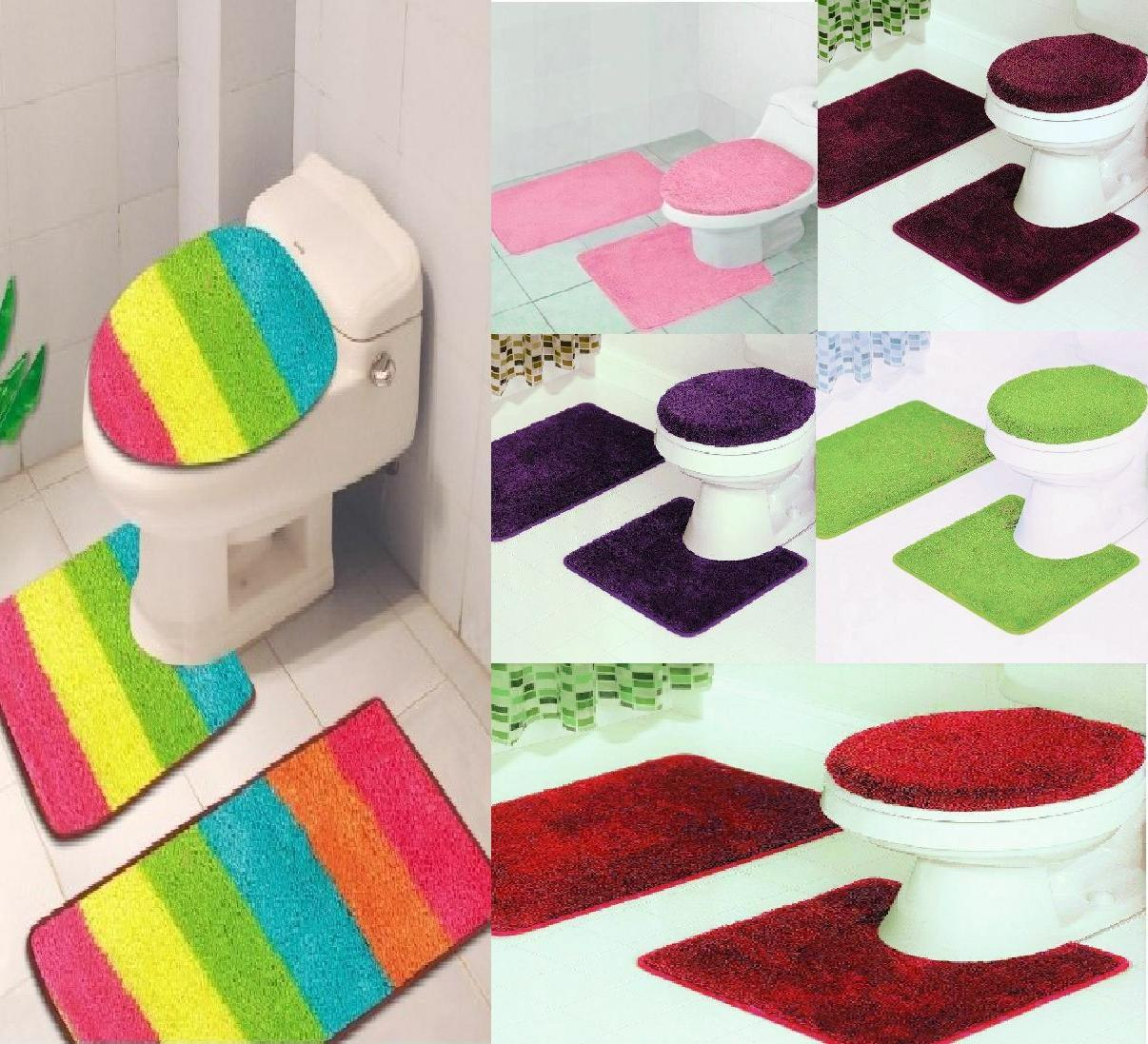 bathroom set rug contour mat toilet lid