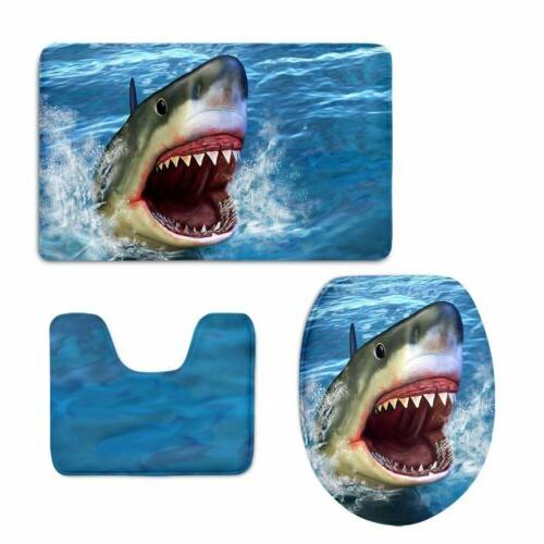 blue animal shark bath mat toilet covers