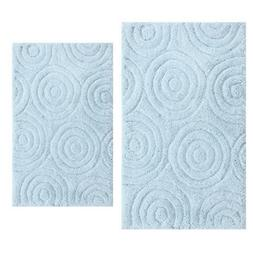 Light Blue 20 in. x 30 in. and 21 in. x 34 in. Circles Bath