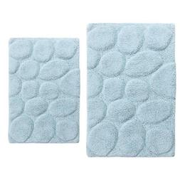 Light Blue 20 In. X 30 In. And 24 In. X 40 In. Palm Bath Rug
