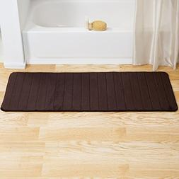 Lavish Home Memory Foam Striped Extra Long Bath Mat, 24 by 6