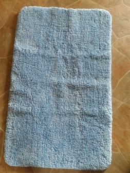 InterDesign Microfiber Blue Bathroom Accent Rug Bath Mat Bat