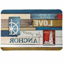 Laural Home Nautical Words Memory Foam Rug Red, White, Blue