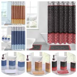 NEW 19PC Bathroom Bath Rugs Mats and Shower Curtain Set With