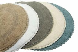 "Reversible Bathroom Rugs 9 Colors 36"" Round Cotton Luxury Ba"