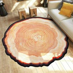 Round Area Rugs Tree Annual Ring Washable Non-Skid Bath Mats
