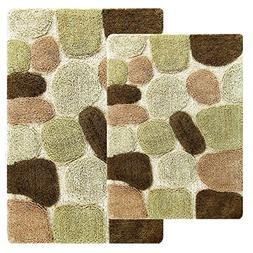Runner Non Slip Bathroom Rug and Mat Set Throw Rugs Pebbles