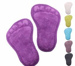 Set of 2 Footprint Bath Floor Mats Rugs in choice of Colours