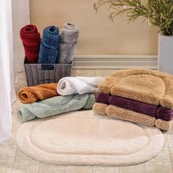 Set of 2 Oval Bathroom Rugs Many Colors 2 Sizes New Plush Co
