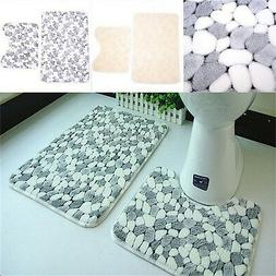 Soft Cotton 2Pieces Bath Pedestal Mat Toilet Non Slip Washab